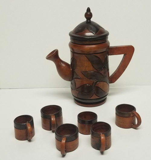 7 Piece Hand-Carved Wood Teapot & Cups
