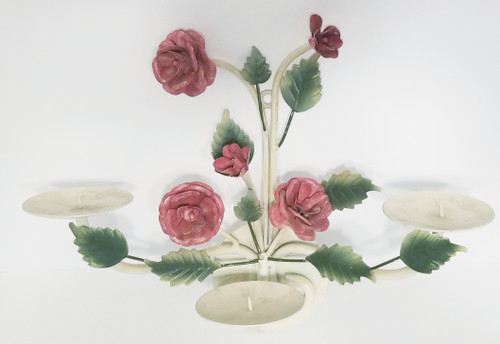 Antique White & Roses Shabby Distressed Candelabra Wall Sconce Candle-Holder