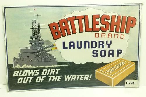 **RARE BATTLESHIP Brand Laundry Soap Metal Sign (SEALED)