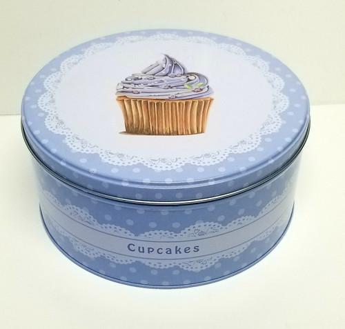 Nostalgic Lace, Lavender & Polka-Dot Cupcake Themed Tin Container