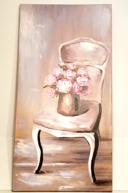 "Large ""Still Chair Of Roses II"" Yosemite Home Decor Original Artwork On Canvas"