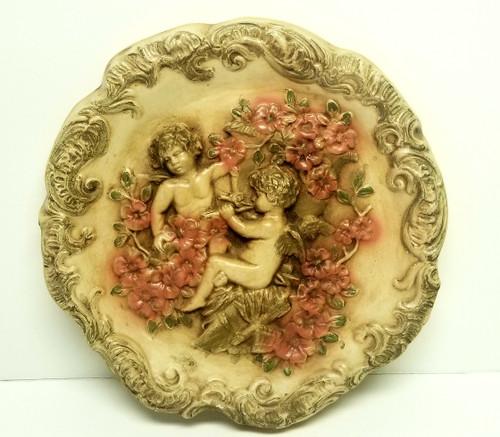 """12"""" Cherub Angels Wall Sculpture w/Acanthus Trim"""