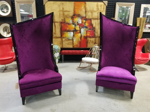 Asymmetrical Duchess of Purple -  Set of 2 High-Back Accent Chairs