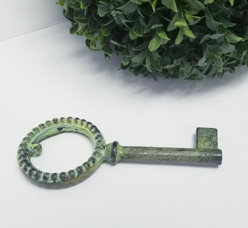 "1 Faux Rusty Green Decorative Key (6"" H x 2.58"" W)"