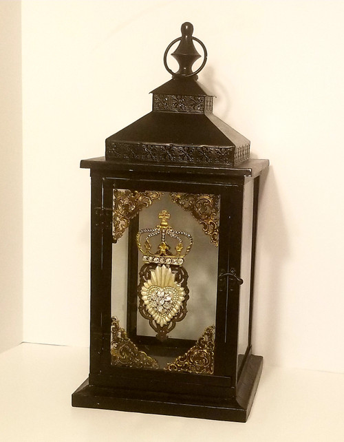 Royal Inspired Black Metal Lantern w/Crown, Fleur De Lis , Bling
