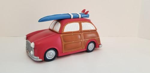 Woody Station Wagon w/Surf Board Trinket Box Figurine