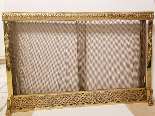 Exquisite Polish Brass Gold-Tone Framed Fireplace Cover w/Acanthus Border