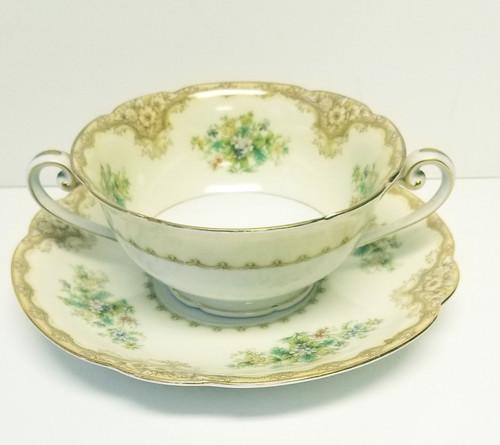 "Noritake ""IRIS"" Footed Cream Soup Bowl & Saucer Plate"