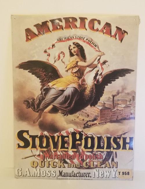 American Stove Polish Metal/Tin Advertisement Sign (SEALED)