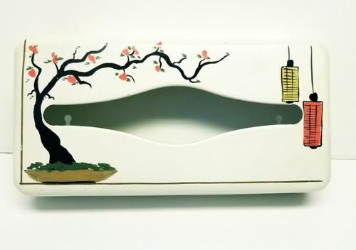 Vintage Ransburg Metal Tissue Box - Asian Themed/Cherry Blossom Tree
