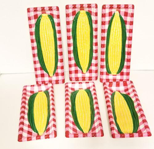 6 - Corn On The Cob Plaid Plastic Plates