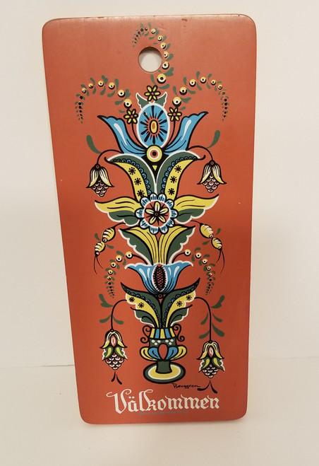 """Valkommen"" Berggren Rosemaling Wood Scandinavian Folk Art/Decor"