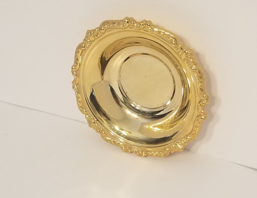 Scroll Repousse Trimmed 24K Gold Electroplated Bowl