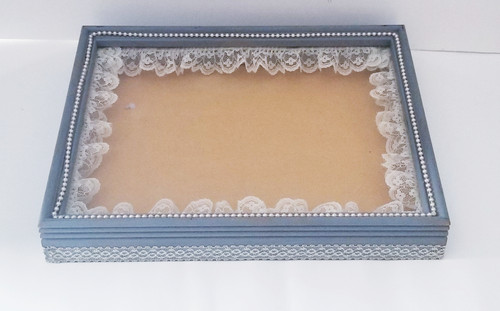 Pearls & Lace Shabby Chic Shadow Box (Project Piece)