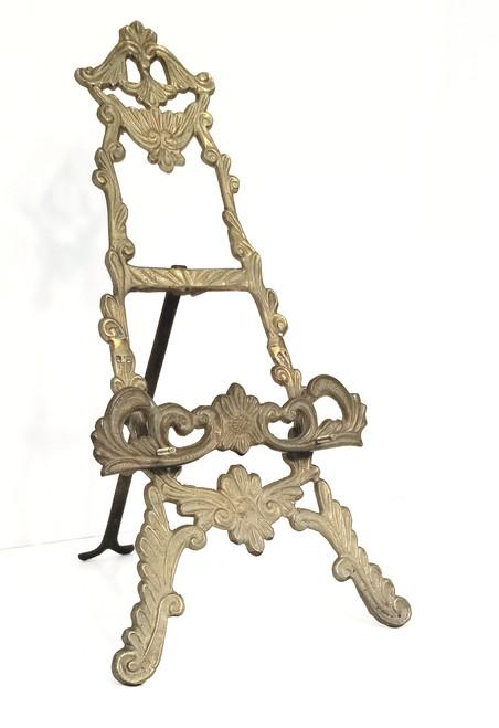Vtg Resin & Ornate Brass Easel/Book Holder Acanthus Scrolls