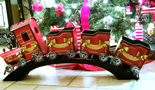 """41"""" L Metal Christmas Holiday Train w/Box Cars On An Arched Traditional Track"""