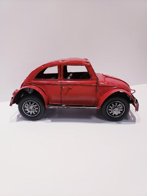 Nostalgic Volkswagen Beetle Metal/Tin Sculpture - Red