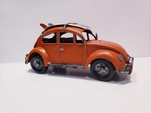 Surf Volkswagen Beetle Metal Sculpture - Orange