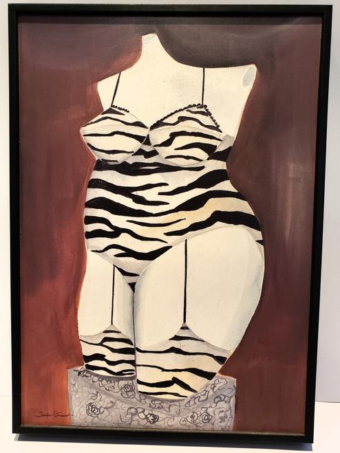 Jennifer Garant Curvy Zebra Lingerie Artwork Wall Plaque