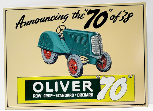 """Announcing The """"70"""" Of '38 OLIVER Row Crop Nostalgic Metal/Tin Sign"""