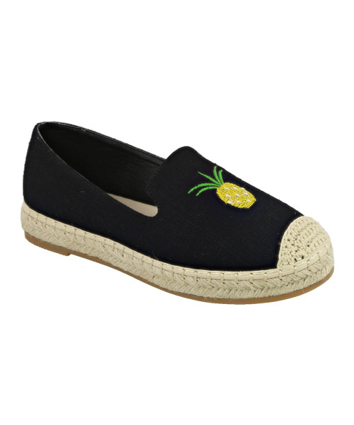 Black Pineapple Embroidered Chrom Espadrille Women's Size 7