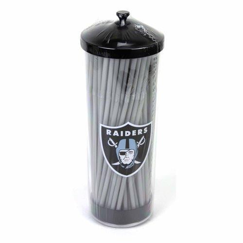 NFL Raiders 100 Count Straws | Logo Straw Dispenser