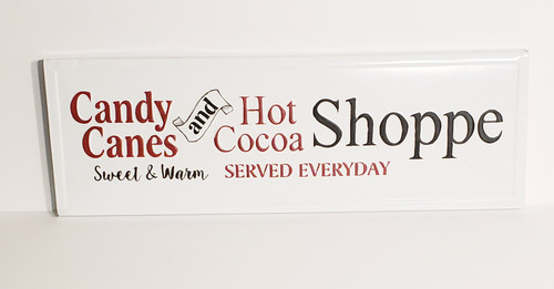 Candy Canes and Hot Cocoa Shoppe Metal/Tin Sign