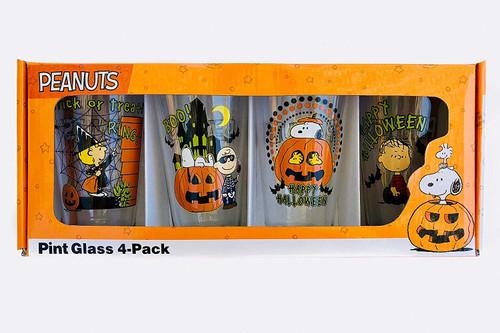 PEANUTS Pint Glass 4-Pack 16oz  Set Halloween Pumpkin