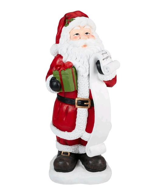 "37"" Hand Painted Santa Claus w/Gift Box & List Statue"