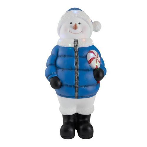 "36"" LED Lights  Christmas Snowman w/Blue Puffer Jacket & Lollipop"