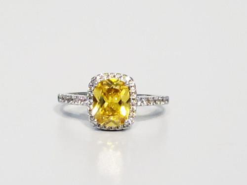 Canary Yellow Princess Cut Ring (SIZE 9)