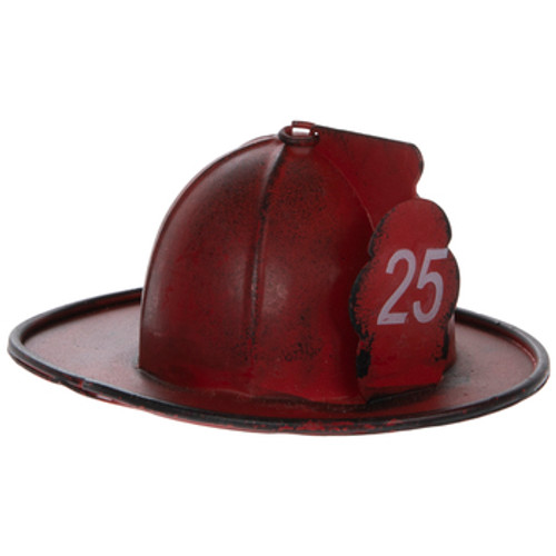 """Red Distressed Firefighter Helmet Ornament """"25"""""""