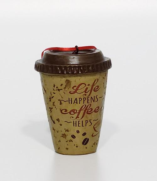 """Life Happens"" Coffee Helps Christmas Ornament"