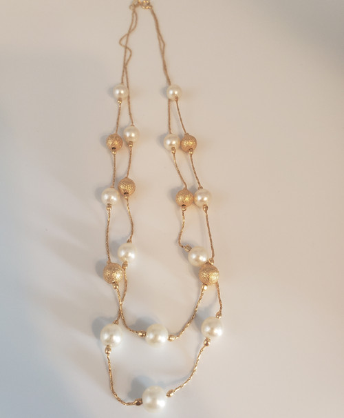 Cracco Double Chain Necklace w/Gold Beads & Pearls