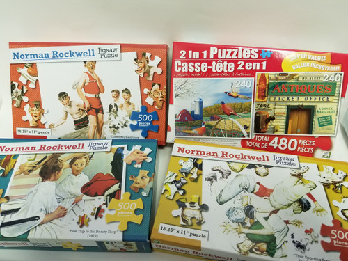 4 Pc Lot of Vintage Designed Puzzles - Norman Rockwell