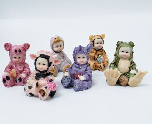 LOT of 6 Babies in Animal Costumes Figurines