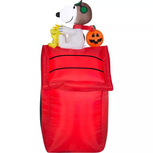 Gemmy Christmas Airblown Inflatable Snoopy as Flying Ace on Dog House Peanuts, 3.5 ft Tall