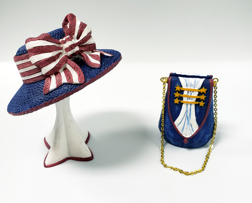 Miniature Hat Stand & Purse Cardholder Figurines - Red White & Blue