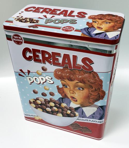 """Nostalgic - """"Cereals"""" Tin Storage Container """"POPS"""""""
