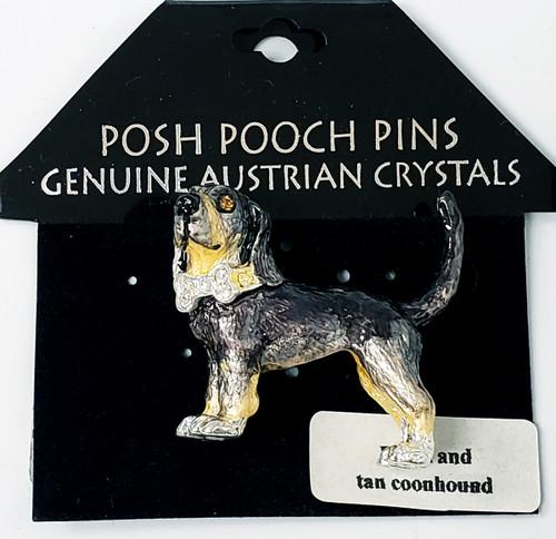 Lanren-Spencer & Posh Pooch Pins w/Austrian Crystals Brooch's - Black and Tan Coonhound