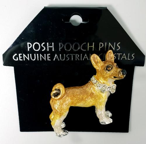 Lanren-Spencer & Posh Pooch Pins w/Austrian Crystals Brooch's - Basenji