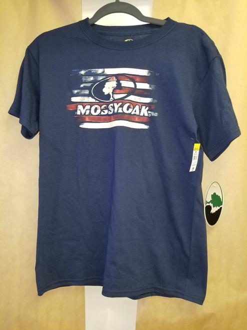 3 - NWT's Mossy Oak Shirts / Navy Blue & Flag Design