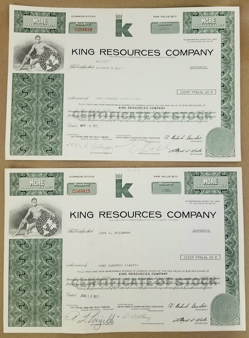 """2 """"King Resources Company"""" Common Stock Certificates"""