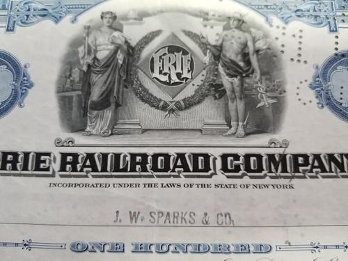 """1940's """"ERIE Railroad Company"""" Common Stock Certificate"""