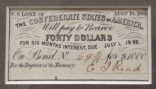 FRAMED Confederate $1,000 Bond , $100 Bill & $40 Coupon