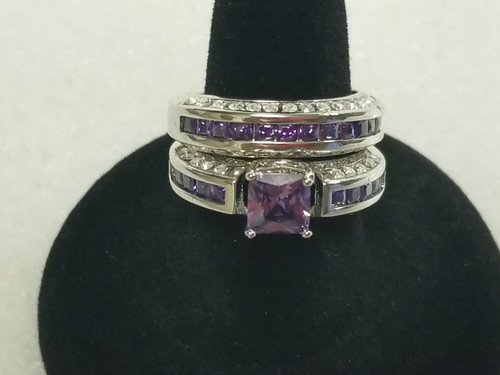 2.50 CT Simulated Amethyst & CZ Bridal Engagement Ring - Purple/Silver
