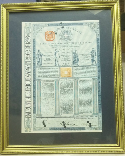 1898 GREEK BOND - Guaranteed by France, Great Britain & Russia