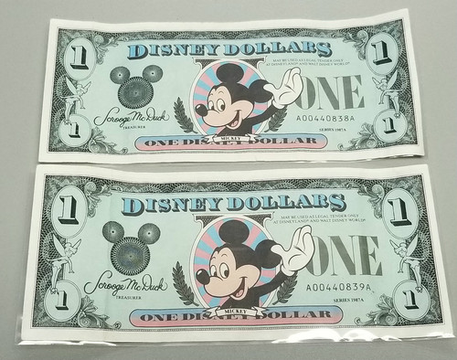 1987 Disney Dollars - 2 Consecutive Serial Numbers