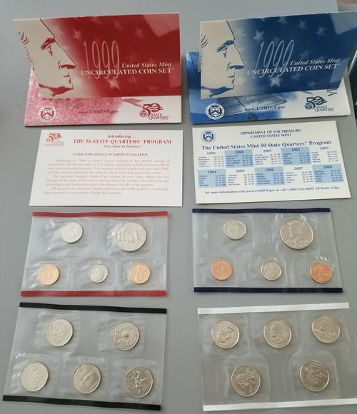 1999 United States MINT DENVER & PHILADELPHIA Uncirculated Coin Sets