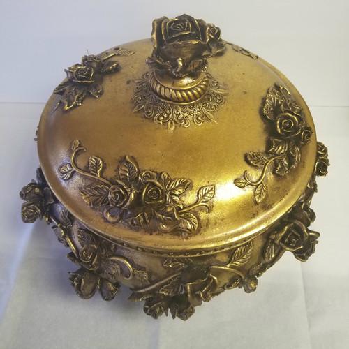 Golden Garden Large Resin Storage/Jewelry Box/Conversation Decor
